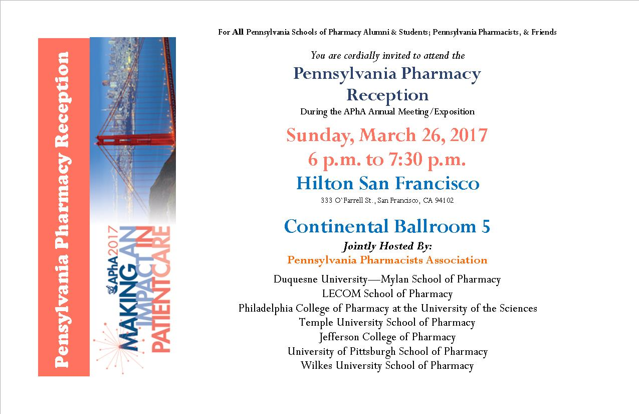Pennsylvania Pharmacy Reception at APhA @ Hilton San Francisco