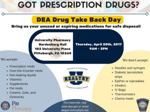 Drug Take Back Day @ University Pharmacy Nordenberg Hall